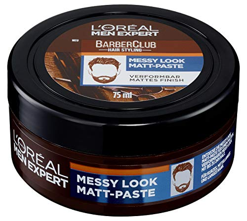 L'oréal Men Expert Barber Club, Messy Look Matt Paste, Mattes Haarwachs Mit Starkem Halt, Verformbar, Flexible Struktur, Haarpaste Für Männer, 75 Ml