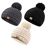 REDESS Baby Kids Winter Warm Hats, Infant Toddler Children Pom Pom Beanie Knit Cap Girls Boys