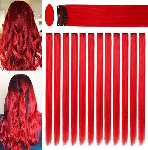 Fcysws 12 farbige Clip-In-Haarverlängerungen, 21inch, hitzebeständig, synthetisch, glatt, für Frauen und Mädchen, Geschenk, mehrfarbig, Party-Highlights, Clip-in-Haarteil (rot)