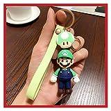 Djujiabh Llavero Lindo Dibujos Animados 3D Figura Super Mario Bros Llavero Llavero Anillo Moda Bolsa Coche Llaveros Encantos Tinket Niño Regalo (Color : Green Mario)