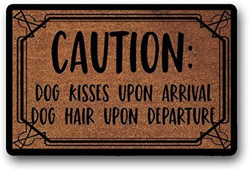 Solatman The Original Caution: Dog Kisses Upon Arrival Dog Hair Upon Departure - Felpudo para Puerta con Texto en inglés Hope You Like Dogs (45 x 75 cm, látex, 45 x 183 cm)