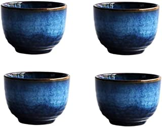 Blue Ceramic Cups Set 5oz, KBNI Pack of 4 Traditional Flambed Glazed Pottery Blue Teacups Handcraft Porcelain Mugs Set