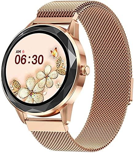 Panduo YLB - Reloj inteligente para mujer, pantalla de 9 pulgadas, IP67, resistente al agua, modo multideportivo, sincronización de información, recordatorio inteligente (color: oro)