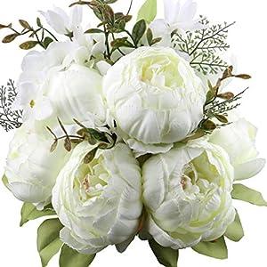 Ksnnrsng Flores artificiales de peonía, flores artificiales de seda, flores falsas, peonías, ramo de seda, ramo de…