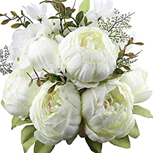Ksnrsng – Flores artificiales de peonía, flores artificiales de seda, falsificadas, flores, peonías, ramo de flores…