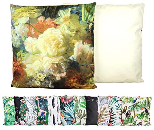 JACK Outdoor Lounge Kissen 45x45cm Motiv Dekokissen Wasserfest Sitzkissen Garten Stuhl, Farbe:Blumenzauber