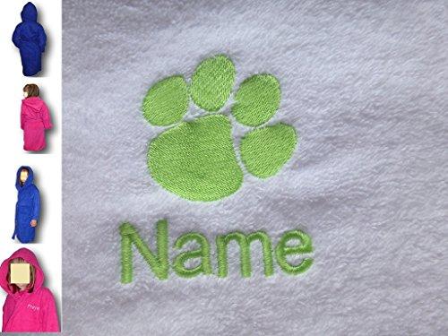 EFY Peignoir à capuche pour enfant avec logo imprimé pattes et nom de votre choix Bleu roi 2, 4, 6, 8, 10 ou 12 ans (6 ans)