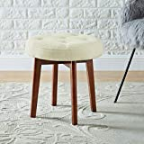 24KF Linen Tufted Round Ottoman with Solid Wood Leg, Upholstered Padded Stool - Cream