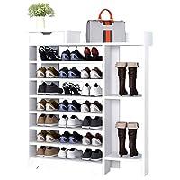 SCH-SC シューズラック 靴タワー 靴ラック靴棚木材プラスチック複合棚 - ホワイト入れブーツ8階層省スペース簡単組み立て(カラー:ホワイト、サイズ:85 * 24 * 118センチメートル) 靴収納