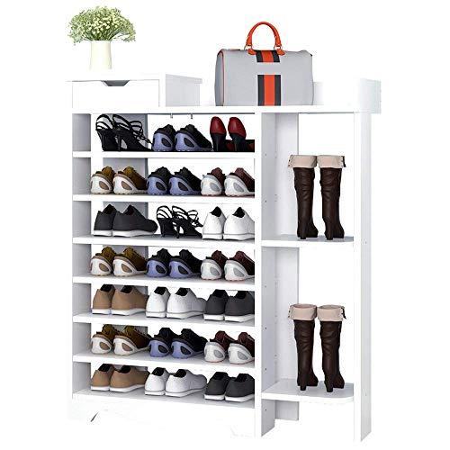 YISUNF Bastidores del Zapato del Zapato Estante de Madera Compuesto plástico Estante - Botas Puestas Blancas 8 Niveles de Ahorro de Espacio Fácil Ensamble (Color: Blanco, Tamaño: 85 * 24 * 118cm)
