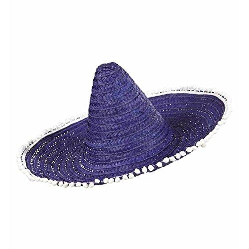 Sombrero Met Pom Poms 50cm - Blauw/Paars Mexicaanse Hoeden Caps & Hoofddeksels voor Fancy Jurk Kostuums Accessoire
