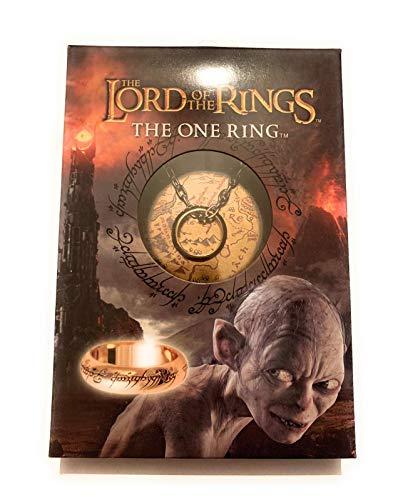 giulyscreations Anillo único con el Señor de los anillos, original de One Ring The Lord of The Rings El Hobbit Sauron Gollum, grabado en lengua Mordor, paquete oficial