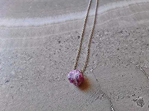 Raw Ruby July Birthstone Stone Minimalist Necklace Stainless Steel