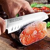 Zolmer® Profi Santokumesser aus deutschem Carbon Edelstahl und Pakkaholz - Rostfreies Sushi Messer mit Antihaftbeschichtung - Japanisches Küchenmesser - 2