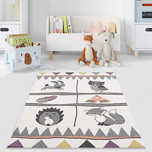 payé Teppich Kinderzimmer - Cream - 120x160 cm - Spielteppich Babyteppich Waldtiere Kurzflor Kinderteppich - Oeko-Tex Standard 100