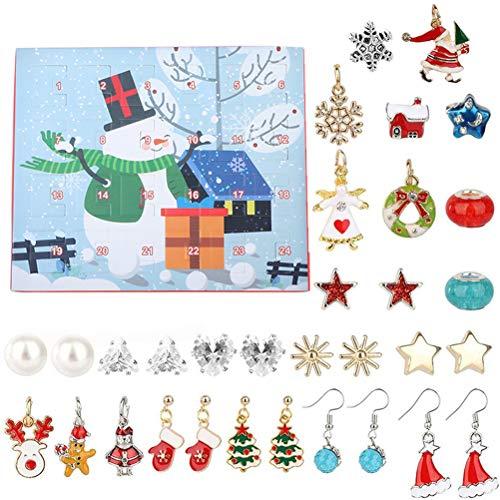 BSTQC Calendario de Adviento de Navidad DIY pendientes y collares de 24 días con calendario de cuenta atrás para mujeres y niñas