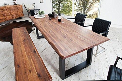 Casa Padrino Massivholz Esstisch Akazie/Eisengestell 200 cm - Esszimmer Tisch Massiv
