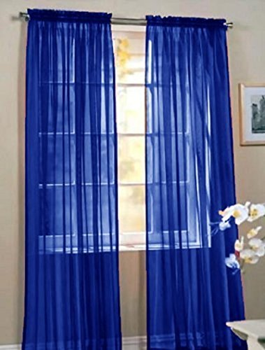 """Luxury Discounts 1 Piece Solid Royal Blue Elegant Sheer Curtains Fully Stitched Panels Window Treatment Drape 55"""" X 84"""""""