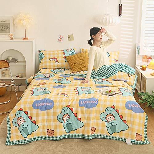 Meet Beauty Edredón de algodón de 4 Piezas Añadir Dos pillowcasas Impresas de algodón Verano Edredón Fresco Antipolvo, Antibacteriano, Anti-Olor-7_Traje de 150x200cm4