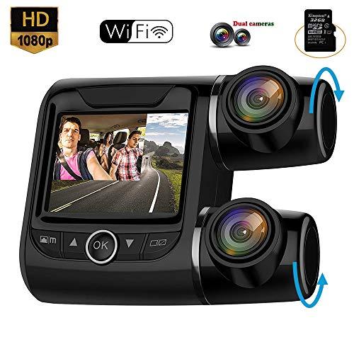 BQT Caméra de Voiture Caméra Embarquée 1080P Full HD Grand Angle 170° Polyvalent Dashcam Enregistreur de Conduite avec Caméra avec WiFi, détection de Mouvement et capteur G,8G