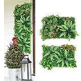 Jroyseter panel planta artificial 2 piezas panel de fondo hierba verde alfombra de pared pared verde accesorios de decoración creativa dormitorio sala de estar oficina