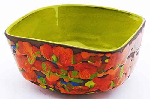 ART ESCUDELLERS LEBRILLO Cuadrado 8X15 de Ceramica Hecho y Pintado a Mano, vajilla con Decoracion XISPEJAT Verde. 15cm x 15cm x 8cm