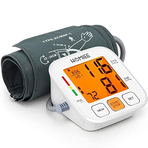 HOMIEE Oberarm Blutdruckmessgerät, Digitale Automatisches blutmessgerät und Pulsmessung, Blutdruck Messgeräte mit Herzfrequenz Anzeige und Hintergrundbeleuchtung Großes LED Bildschirm