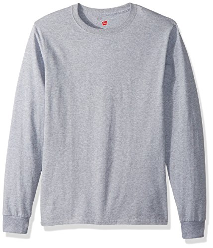 Hanes TAGLESS 6.1 Long Sleeve T-Shirt Light Steel M
