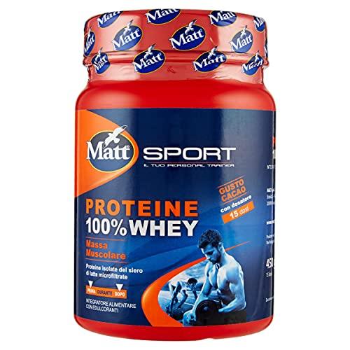 Matt Sport Proteine 100% Whey, Bevanda al Gusto Cioccolato, 450g