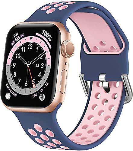 Correa Deportiva de Silicona Suave Compatible con Apple Watch 44mm 42mm 38mm 40mm, Dual Color Correa de Reloj de Repuesto, Correa Ajustable Compatible con Nike Edition para iWatch Series 6 5 4 3 2 1