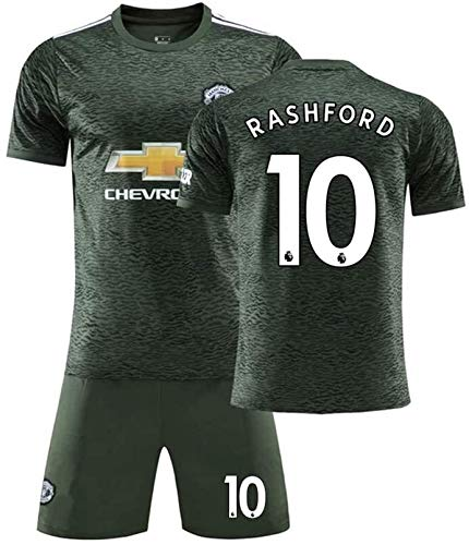 LLM Soccer Suit Men Manchester United Football Team #10 Marcus Rashford Fan Soccer Jersey Sets (Color : Grey, Size : 4 Years)