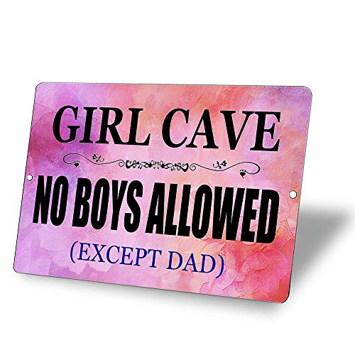 TINSIGNS Funny Girl Cave Bar Daughter Pink No Boys Allowed Bedroom Door Tin Sign Wall Decor Retro 8x12Inch
