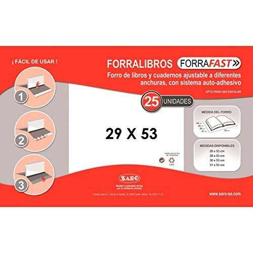 SARO Forralibro 29 x 53 cm. PVC Transparente, Caja x25