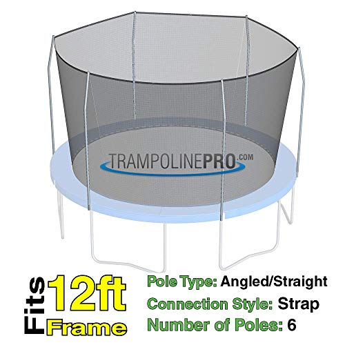 Trampoline Replacement Nets with Straps | Sizes 12 ft - 14 ft - 15 ft | Net Only | Poles Not Included (12 ft Net w Straps for 6 Poles)