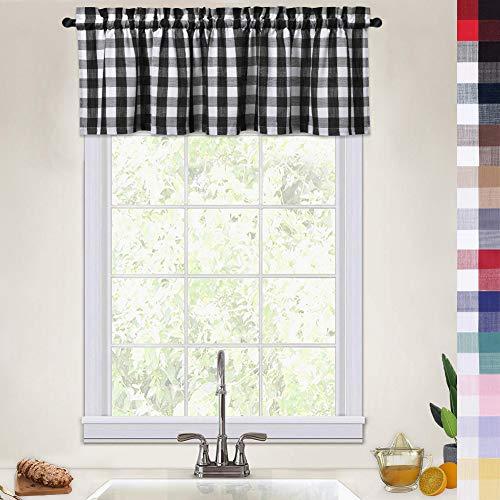 Buffalo Plaid Valance Curtains for Kitchen, Heavyweight Buffalo Check Gingham Farmhouse Valance Curtains for Windows Kitchen Cafe Curtains, 52x15 Inches, Black/White