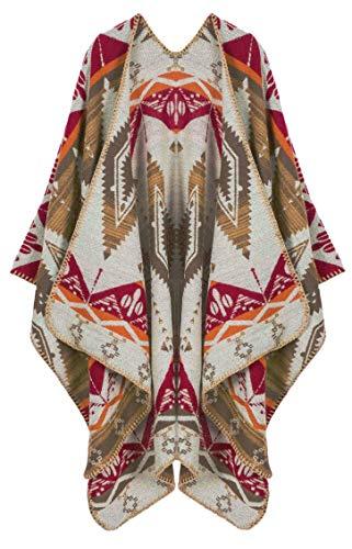 Poncho delantero abierto para mujer con capa de color block Wrap chal reversible diseño largo Cardigan Boho Pashmina Suéter Ruana, Tribal 01-bronceado, Talla única
