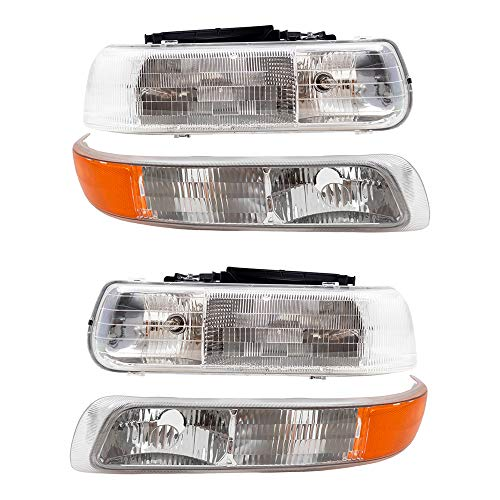Aftermarket Replacement 4 Pc Set Headlights & Side Signal Marker Lamps Compatible with 2000-2006 Tahoe Suburban 1999-2002 Silverado Pickup Truck