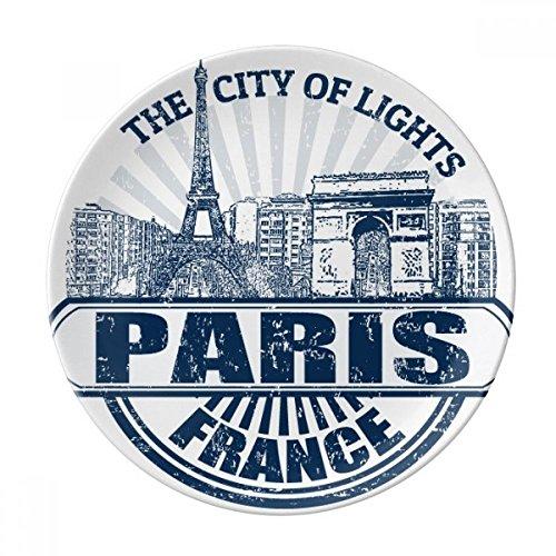 DIYthinker Paris France Drapeau de la Tour Eiffel Architecture Décorative Porcelaine Assiette à Dessert 8 Pouces Dîner Accueil Cadeau 21cm Diamètre Multicolor