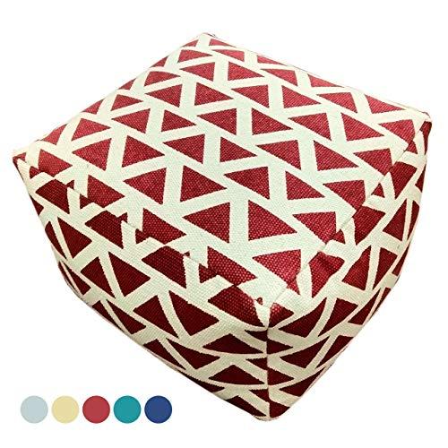 Soma Design Pouf Kelim Style vloerkussen zitpoef Maja 55x37x55 cm handbedrukt in 5 kleuren (BxHxL) 55 x 37 x 55 cm rood - vintage rood
