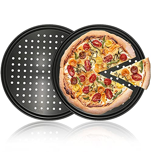 2 Pack Non-Stick Pizza Pan,12 Inch Carbon Steel Round Pizza Bakeware,Pizza Tray With Holes for Home Baking,Kitchen,Oven,Restaurant