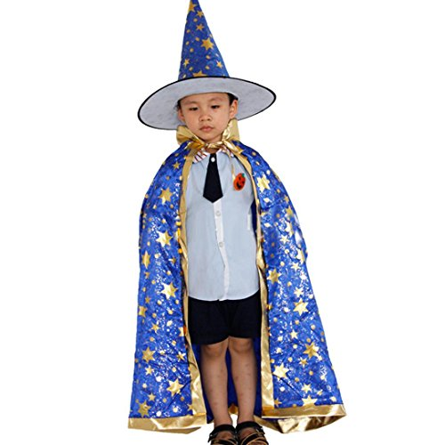 Rcool Children Halloween Kostüm Zauberer Hexe Mantel Cape Robe und Hut für Boy Girl (Blau)