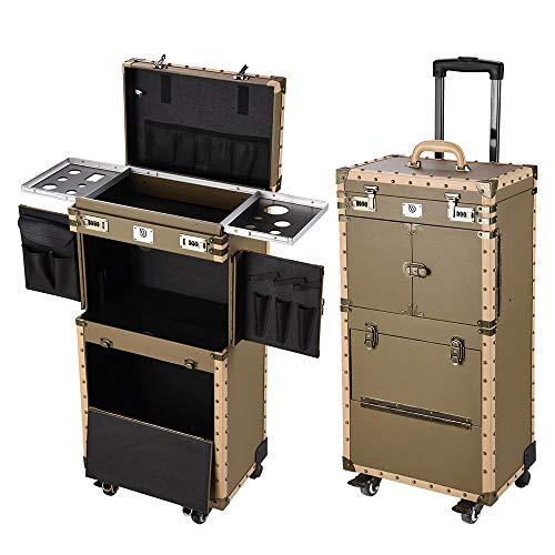 """Byootique Rolling 15x11x33"""" Makeup Stylist Train Case Hair Salon Clipper Trimmer Box Bronze with 360 Degree Wheel"""
