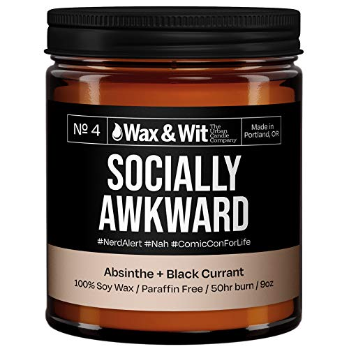 WAX & WIT Funny Candles, Scented Soy Candle Infused with Absinthe & Black Currant - Gifts for Mom, Funny Gifts for Women, Housewarming Gifts - (1) 9oz Candle (Socially Awkward)