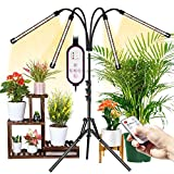 Wolezek Pflanzenlampe Vollspektrum,LED Grow Lampe mit Ständer,3000k 6500k 660nm Bodenpflanzenlicht,PflanzenleuchteTripod einstellbar 28-160CM,Timing 4/8/12H,3 Modi&10-stufigeHelligkeit,RF Controller