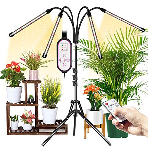 Grow Light with Stand for Indoor Plant, Wolezek 4-Head 80 LED Full Spectrum Floor Plant Light with Auto On/Off 4/8/12H Timer, 3 Modes 10 Lighting with Dual Remote (Tripod Stand Adjustable 16-63 in)