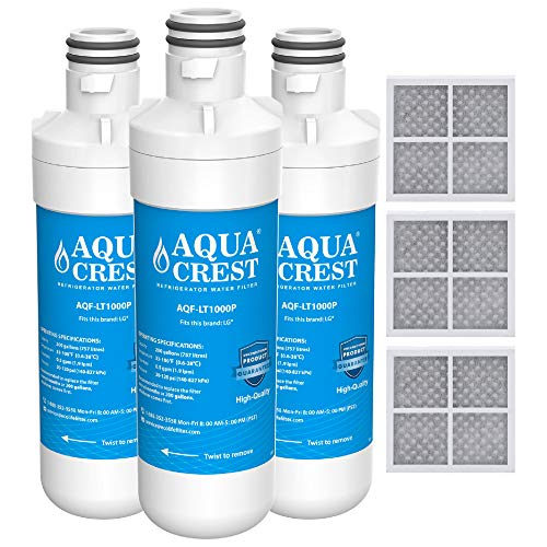 AQUACREST MDJ64844601 Vertical Refrigerator Water Filter, Compatible with LG LT1000P, LT1000PC, LT-1000PC MDJ64844601 and LT120F Combo 3 Pack
