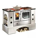 Haas + sohn planai maqueta de cocina, 5-C Construcción de acero inoxidable con los fogones, vitrocerámica, horno de tubo y salida de humos a la derecha, Vicino merox