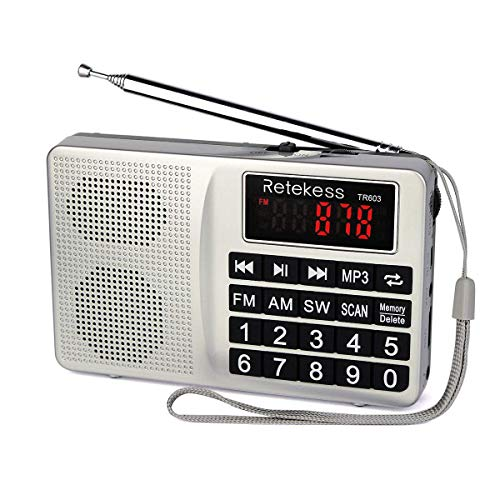 Retekess TR603 Radio Portátil Am FM Onda Corta Soporte Tarjeta SD Disco USB Entrada AUX Reproductor de MP3 Altavoz Botón Grande Pantalla LCD Batería Recargable (Plateada)