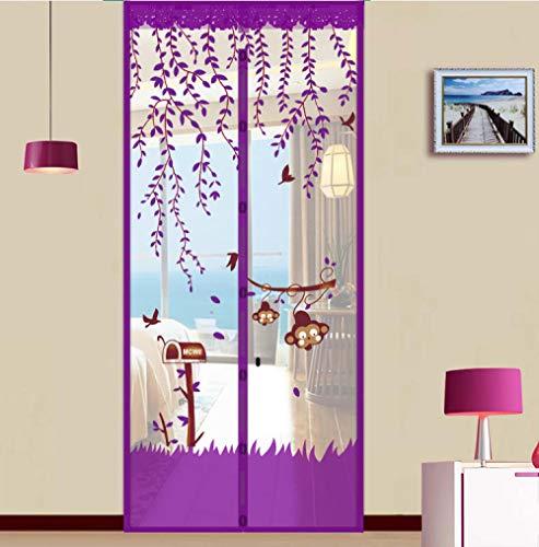 fangfaner 90 x 210 cm Sommer-Netz, Anti-Mücken, Insekten, Fliegenvorhang, automatisches Schließen von Türmagneten, weiche Türen, Küchen-Vorhang, violett, Purple