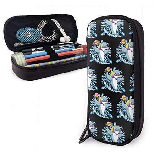 NiYoung Big Capacity Durable Pencil Pen Case Office College School Travel Large Storage Bag Stationery Organizer Box Makeup Pouch with Double Zipper - Dolphin Playing Water Polo